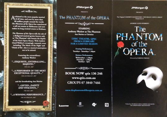 The Phantom of The Opera AU/NZ Tour Brochure 2008/2009